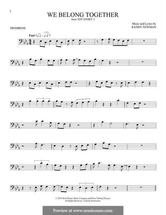 We Belong Together (from Toy Story 3): For trombone by Randy Newman