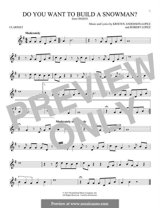 Do You Want to Build a Snowman? (Kristen Bell): Für Klarinette by Robert Lopez, Kristen Anderson-Lopez
