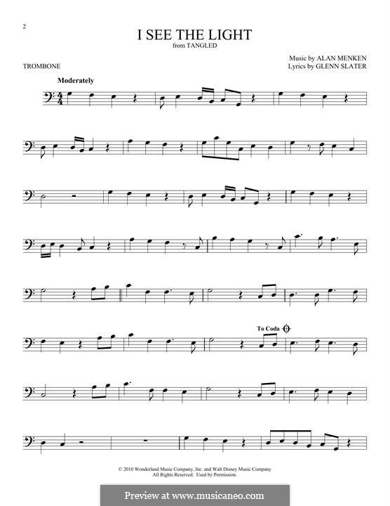 I See the Light: For trombone by Alan Menken