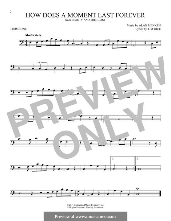 How Does a Moment Last Forever (Celine Dion): For trombone by Alan Menken
