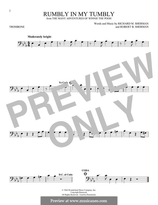 Rumbly in My Tumbly (from The Many Adventures of Winnie the Pooh): For trombone by Richard M. Sherman, Robert B. Sherman