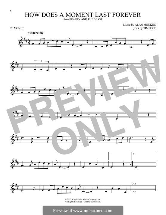How Does a Moment Last Forever (Celine Dion): Für Klarinette by Alan Menken