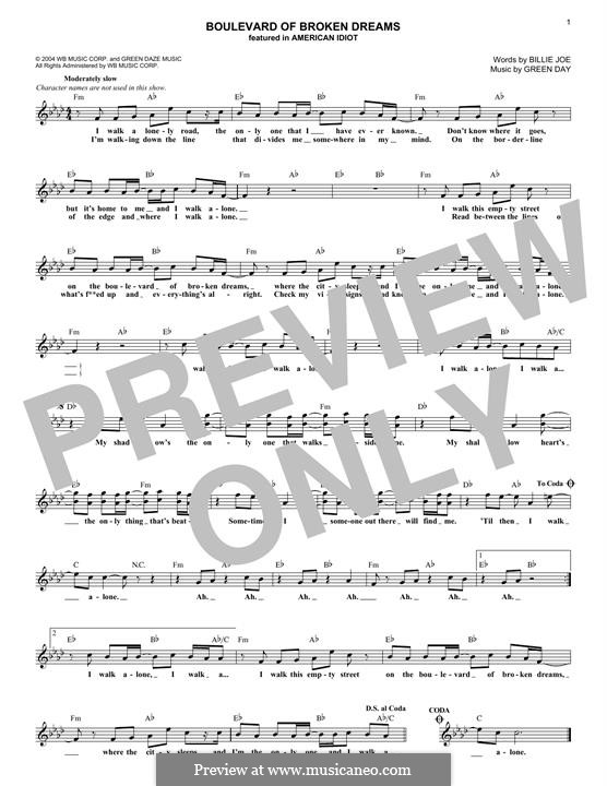 Boulevard of Broken Dreams (Green Day): Melodische Linie by Billie Joe Armstrong, Tré Cool, Michael Pritchard