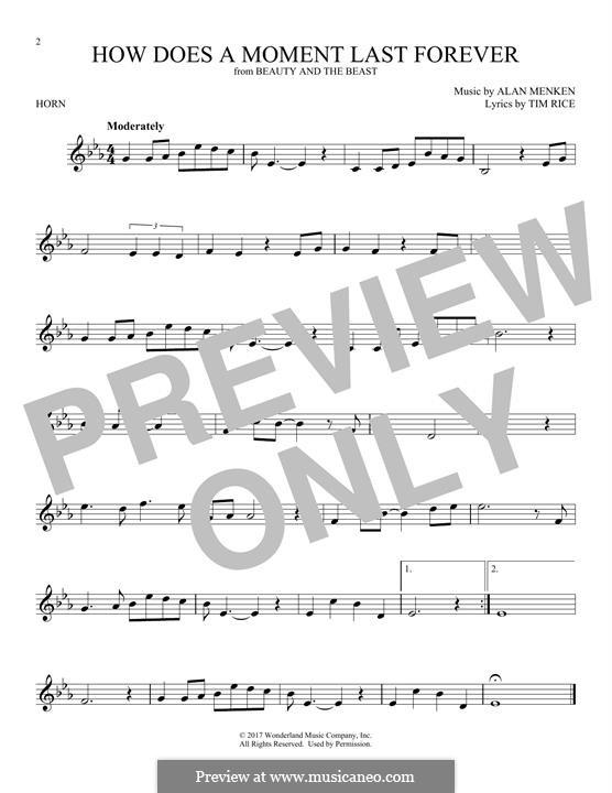 How Does a Moment Last Forever (Celine Dion): For horn by Alan Menken