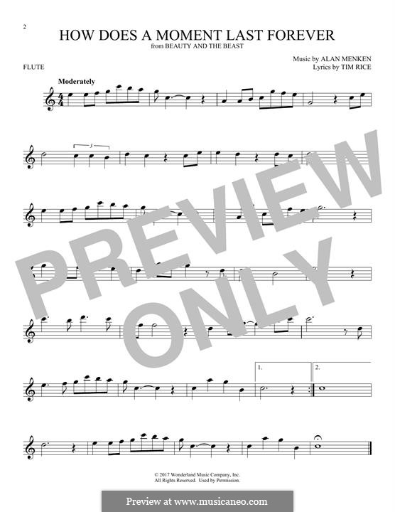 How Does a Moment Last Forever (Celine Dion): Für Flöte by Alan Menken