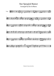 The Star Spangled Banner (National Anthem of The United States): For viola (4/4 time) by John Stafford Smith
