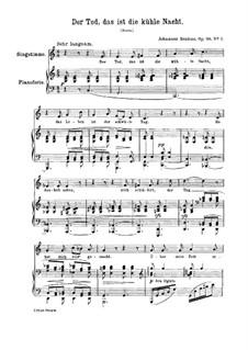 Vier Lieder, Op.96: Nr.1 Der Tod, das ist die kühle Nacht by Johannes Brahms