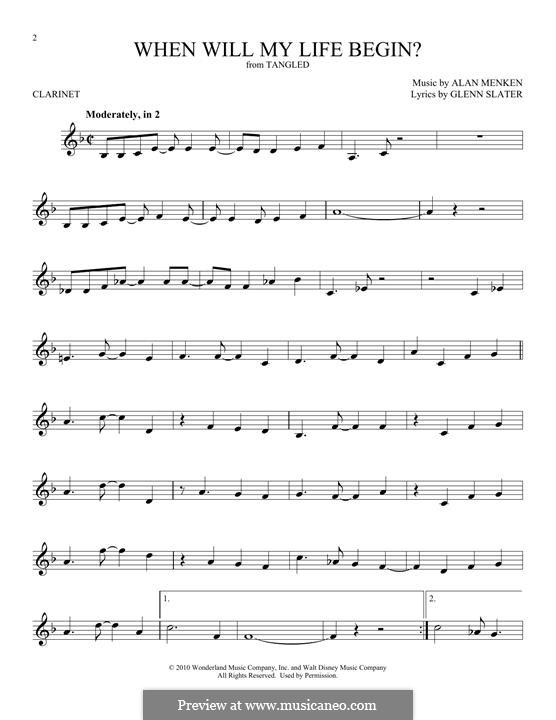 When Will My Life Begin: Für Klarinette by Alan Menken