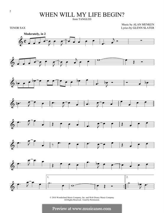 When Will My Life Begin: Für Tenorsaxophon by Alan Menken