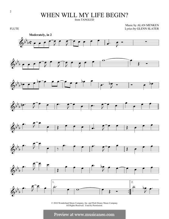 When Will My Life Begin: Für Flöte by Alan Menken