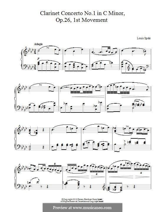 Konzert für Klarinette und Orchester Nr.1 in c-Moll, Op.26: Movement I, for piano by Louis Spohr