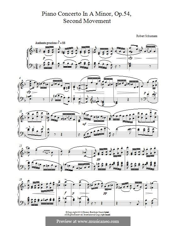 Konzert für Klavier und Orchester in a-Moll, Op.54: Movement II, for piano by Robert Schumann