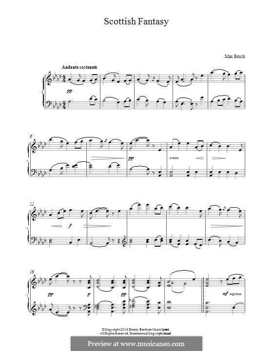 Schottische Fantasie für Violine und Orchester, Op.46: Bearbeitung für Klavier by Max Bruch