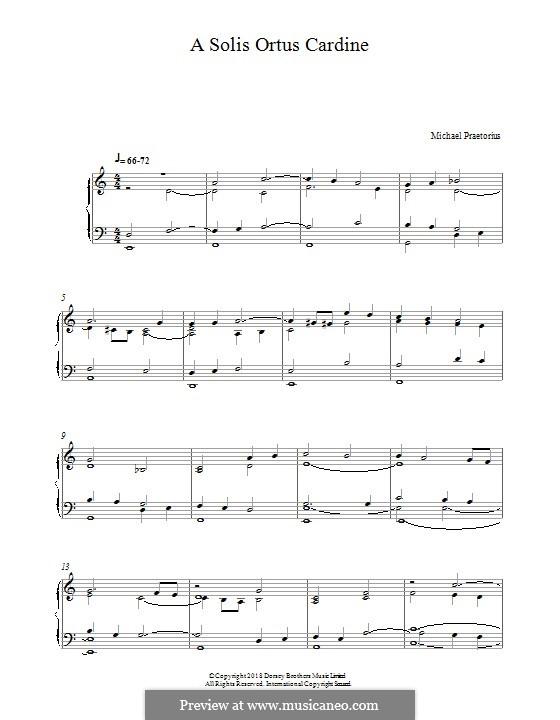 A Solis Ortus Cardine: Für Klavier by Michael Praetorius