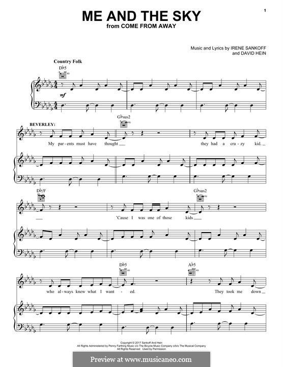 Me and The Sky: Für Stimme und Klavier (oder Gitarre) by Irene Sankoff, David Hein