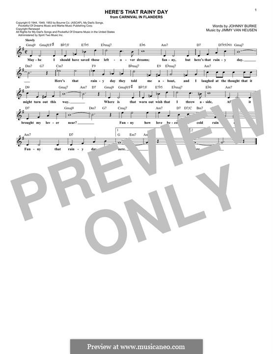 Here's That Rainy Day (Dionne Warwick): Melodische Linie by Jimmy Van Heusen