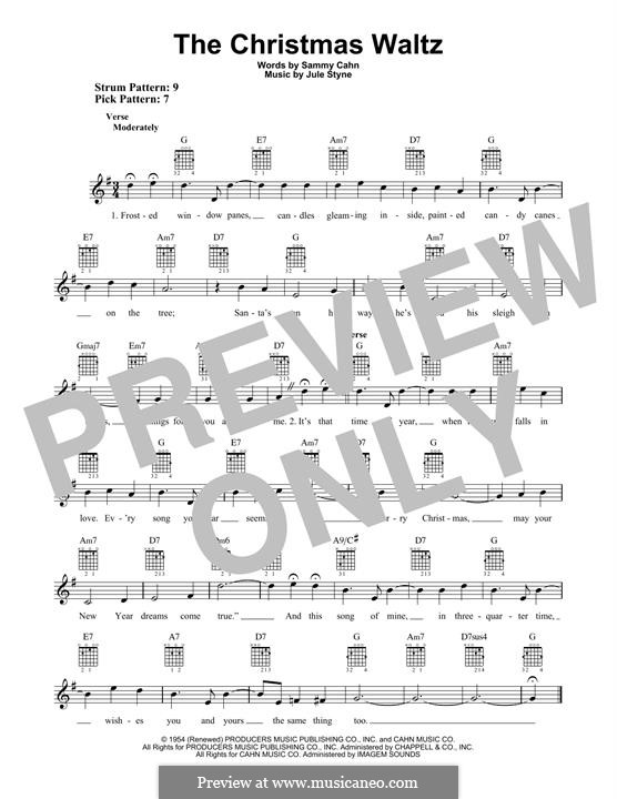 The Christmas Waltz: Für Gitarre mit Tabulatur by Jule Styne