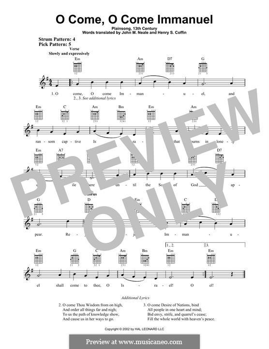 O Come, O Come, Emmanuel: Für Gitarre mit Tabulatur by folklore