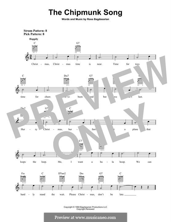 The Chipmunk Song (Alvin and the Chipmunks): Für Gitarre mit Tabulatur by Ross Bagdasarian