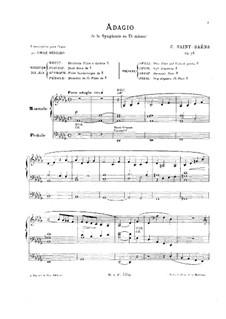 Sinfonie Nr.3 in c-Moll 'Orgelsinfonie', Op.78: Adagio, für Orgel by Camille Saint-Saëns