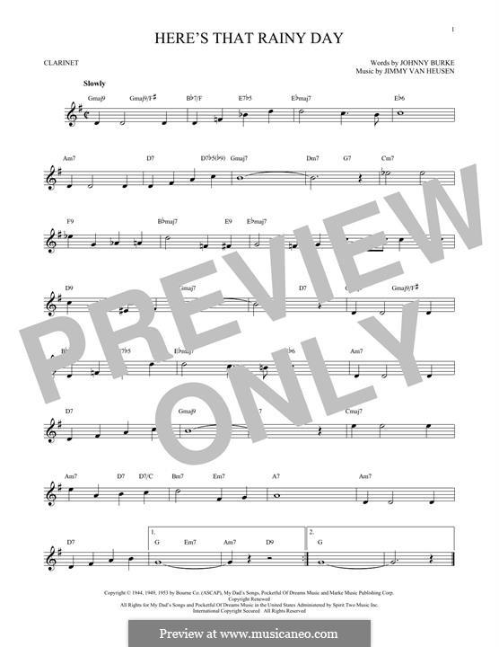 Here's That Rainy Day (Dionne Warwick): Für Klarinette by Jimmy Van Heusen