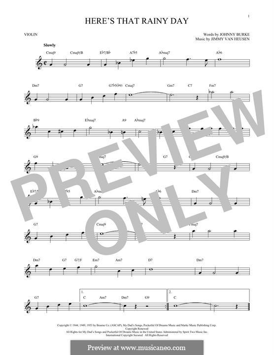 Here's That Rainy Day (Dionne Warwick): Für Violine by Jimmy Van Heusen