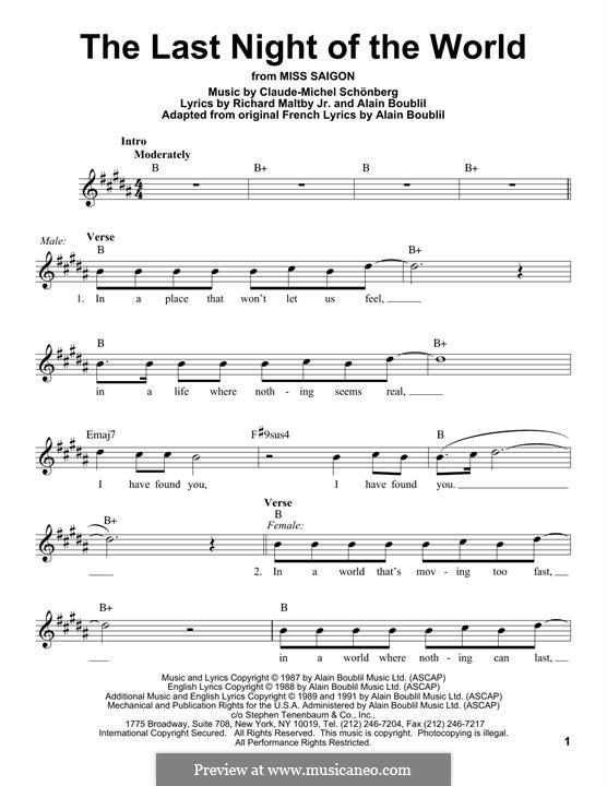 The Last Night of the World: Melodische Linie by Claude-Michel Schönberg