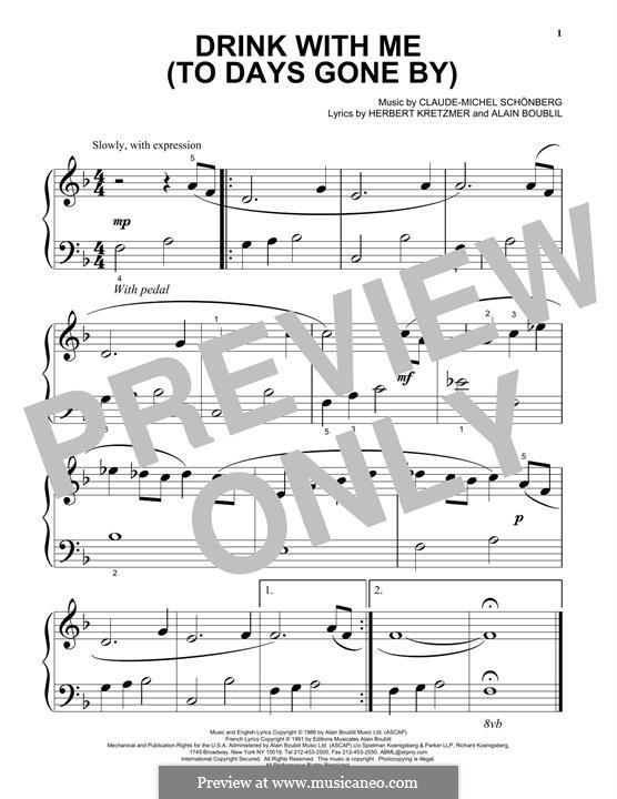 Drink With Me (To Days Gone By): Für Klavier by Claude-Michel Schönberg