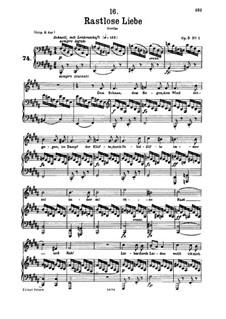 Rastlose Liebe, D.138 Op.5 No.1: Für tiefe Stimme und Klavier by Franz Schubert