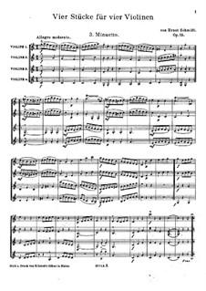 Vier Stücke für vier Violinen, Op.15: Nr.3 Menuett – Partitur by Ernst von Schmidt
