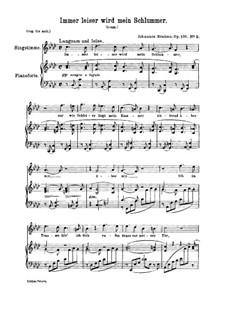 Fünf Gesänge, Op.105: Nr.2 Immer leiser wird mein Schlummer by Johannes Brahms
