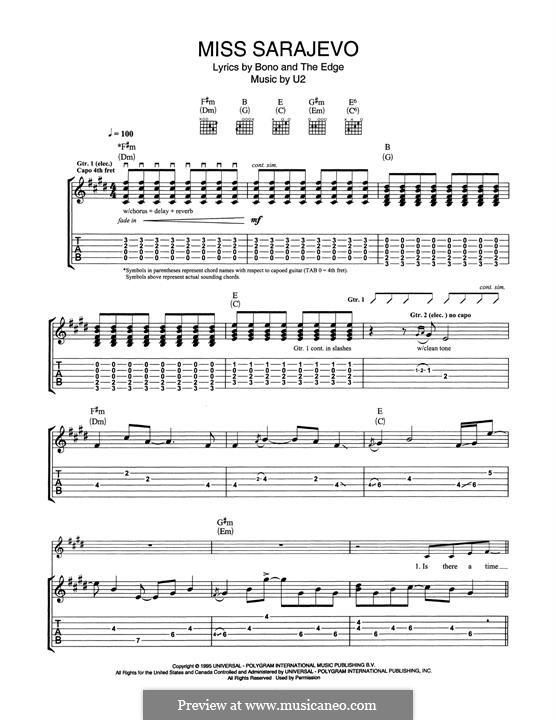 Miss Sarajevo: Für Gitarre mit Tabulatur by U2, Brian Eno