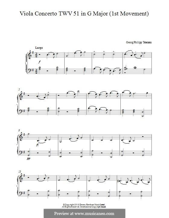 Konzert für Bratsche, Streicher und Basso Continuo in G-Dur, TWV 51:G9: Teil I. Version für Klavier by Georg Philipp Telemann