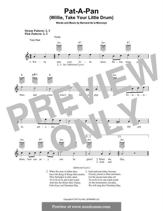 Pat-a-Pan (Willie, Take Your Little Drum): Für Gitarre mit Tabulatur by Bernard de la Monnoye