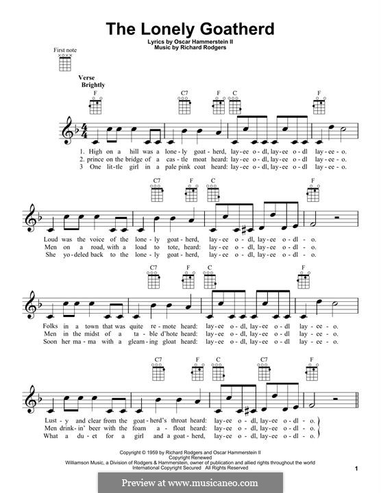 The Lonely Goatherd (from The Sound of Music): Für Ukulele by Richard Rodgers
