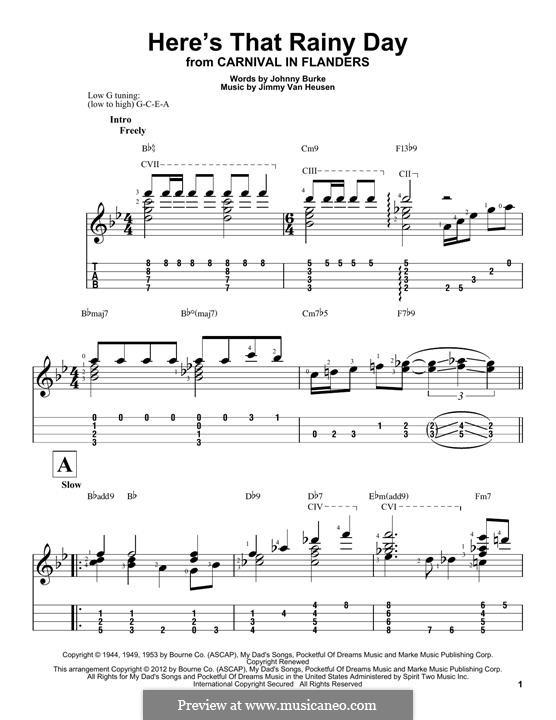 Here's That Rainy Day (Dionne Warwick): Für Ukulele by Jimmy Van Heusen