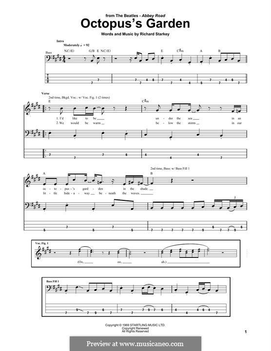 Octopus's Garden (The Beatles): Für Bassgitarre mit Tabulatur by Ringo Starr