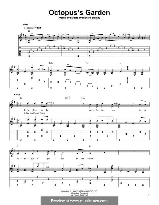 Octopus's Garden (The Beatles): Für Gitarre mit Tabulatur by Ringo Starr