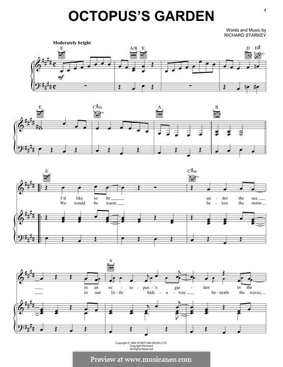 Octopus's Garden (The Beatles): Für Stimme und Klavier (oder Gitarre) by Ringo Starr