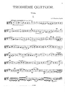 Streichquartett Nr.3 in A-Dur, Op.30: Violastimme by Alexander Tanejew