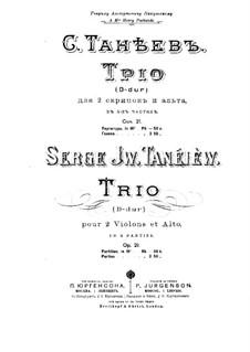 Srteichtrio in D-Dur, Op.21: Violinstimme II by Sergei Taneyev