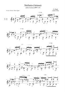 Ich steh mit einem Fuss im Grabe, BWV 156: Arioso, for guitar by Johann Sebastian Bach