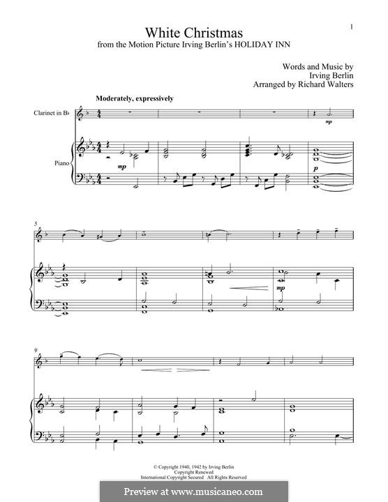 White Christmas. Instrumental version: Für Klarinette und Klavier by Irving Berlin