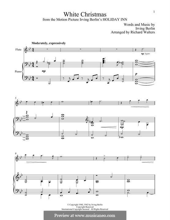 White Christmas. Instrumental version: Für Flöte und Piano by Irving Berlin