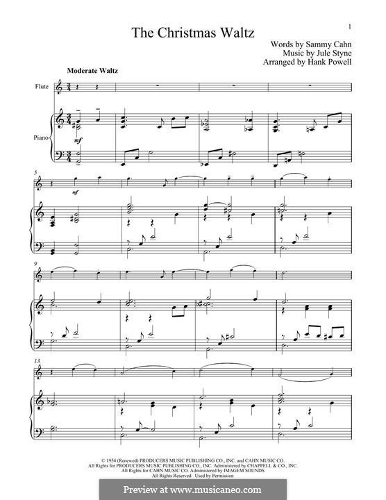 The Christmas Waltz: Für Flöte und Piano by Jule Styne
