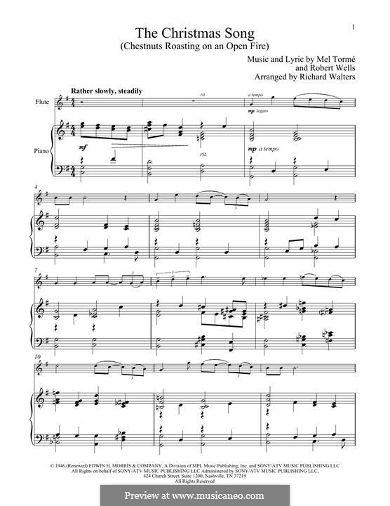 The Christmas Song (Chestnuts Roasting on an Open Fire): Für Flöte und Piano by Mel Tormé, Robert Wells