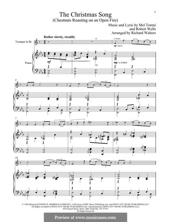 The Christmas Song (Chestnuts Roasting on an Open Fire): For trumpet and piano by Mel Tormé, Robert Wells