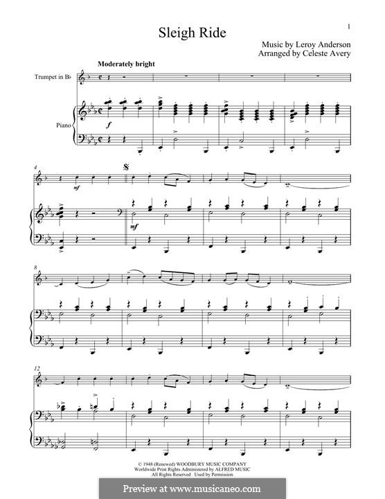 Sleigh Ride: For trumpet and piano by Leroy Anderson
