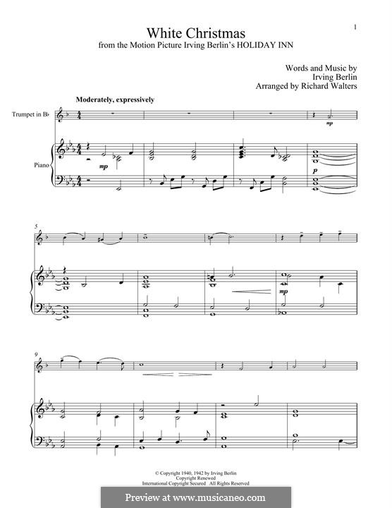 White Christmas. Instrumental version: For trumpet and piano by Irving Berlin