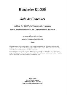 Solo de Concours for alto saxophone and piano: Solo de Concours for alto saxophone and piano by Hyacinthe Eléonore Klosé